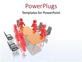 PowerPlugs: PowerPoint template with lots of red colored characters standing round a meeting table