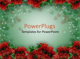PowerPlugs: PowerPoint template with lots of red colored Christmas flowers arranged in two lines