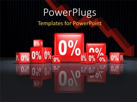 PowerPlugs: PowerPoint template with lots of red colored cubes with figures that spell '0%' on them