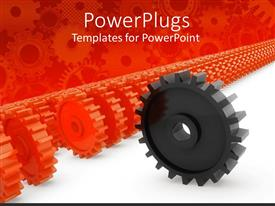 PowerPoint template displaying lots or red colored gears with a black one in front