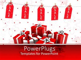 PowerPoint template displaying lots of red and white chistmas gifts on a white background