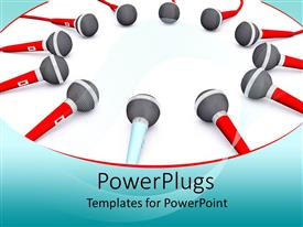 PowerPlugs: PowerPoint template with lots of red and white colored microphones on a white background