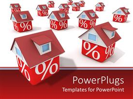 PowerPlugs: PowerPoint template with lots of red and white houses with percentage symbols