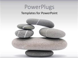 PowerPoint template displaying lots of rock pebbles balanced and stacked up