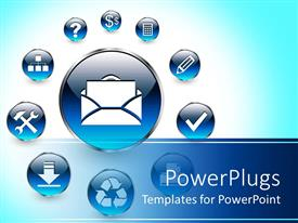 PowerPlugs: PowerPoint template with lots of round blue web icons with white symbols