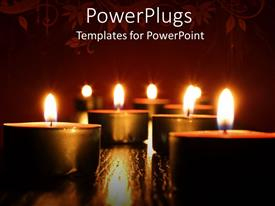 PowerPlugs: PowerPoint template with lots of scented candles arranged on a red floral background