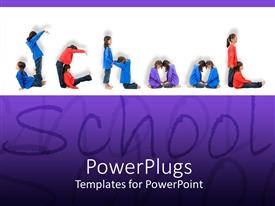 PowerPlugs: PowerPoint template with lots of school kids with a text that spell out the word ' school'