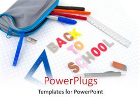 PowerPoint template displaying lots of school utensils on an open exercise book