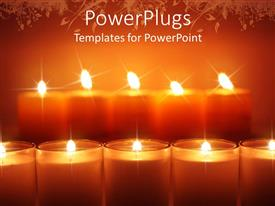 PowerPlugs: PowerPoint template with lots of shinning candle sticks with an orange background