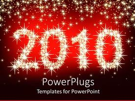 PowerPlugs: PowerPoint template with lots of shinning yellow starts forming a text with figures 2010