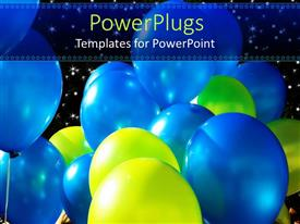 PowerPlugs: PowerPoint template with lots of shinny green and blue colored party balloon's