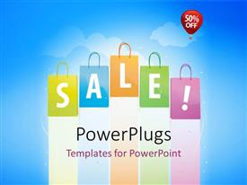 PowerPlugs: PowerPoint template with lots of shopping bags with a text that spells out the word 'Sale! '
