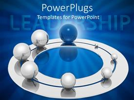 PowerPlugs: PowerPoint template with lots of silver and blue colored balls with a text that spell out the word 'leadership'
