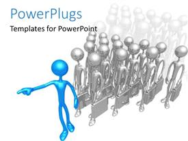 PowerPlugs: PowerPoint template with lots of silver colored 3D characters with briefcases and a leading blue one