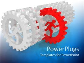 PowerPlugs: PowerPoint template with lots of silver colored gears with a red one in the middle