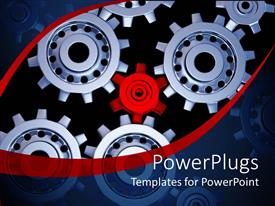 PowerPlugs: PowerPoint template with lots of silver colored gears with a small red gear in the middle