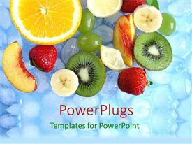 PowerPlugs: PowerPoint template with lots of sliced up fruits on cubes of ice
