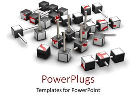 PowerPoint template displaying lots of small cubes with short poles on a white background