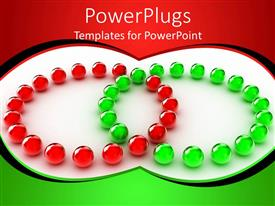 PowerPlugs: PowerPoint template with lots of small gren and white balls in two cirlces