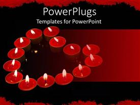 PowerPlugs: PowerPoint template with lots of small red plates with lit candles forming heart shape