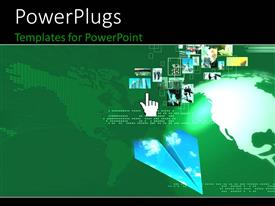 PowerPlugs: PowerPoint template with lots of small tiles with different images and a large globe