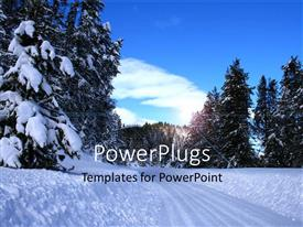 PowerPlugs: PowerPoint template with lots of snow with many trees and a clear sky