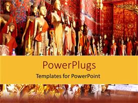 PowerPoint template displaying lots of statues of Buddha inside a colorful orange temple