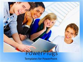 PowerPlugs: PowerPoint template with lots of students forming a group with a laptop