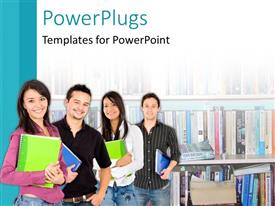 PowerPoint template displaying lots of students standing happily in a school library