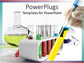 PowerPoint template displaying lots of test tubes and a flaskin a labouratory