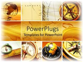 PowerPlugs: PowerPoint template with lots of tile showing compasses, an earth globe and maps