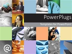 PowerPoint template displaying lots of tiles with business people making calls and having meetings