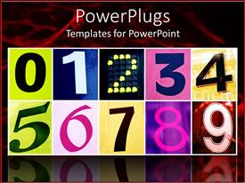 PowerPlugs: PowerPoint template with lots of tiles with colorful numbers on a reflective surface