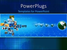 PowerPlugs: PowerPoint template with lots of tiles with different images and five green colored globes