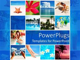 PowerPoint template displaying lots of tiles with different views of a beach