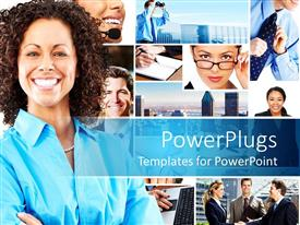 PowerPlugs: PowerPoint template with lots of tiles showing business and corporate settings with a smiling lady
