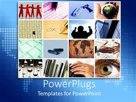 PowerPlugs: PowerPoint template with lots of tiles showing different business elements on a blue map background
