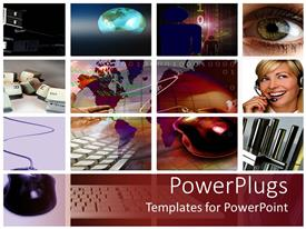 PowerPlugs: PowerPoint template with lots of tiles showing different communication and business materials