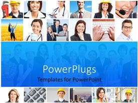 PowerPlugs: PowerPoint template with lots of tiles showing different people indifferent professions