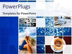 PowerPlugs: PowerPoint template with lots of tiles showing different views of a Holiday resort