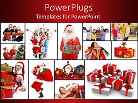 PowerPlugs: PowerPoint template with lots of tiles showing Santa clause with Christmas gifts