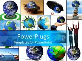 PowerPoint template displaying lots of tiles with white background and globes in different places
