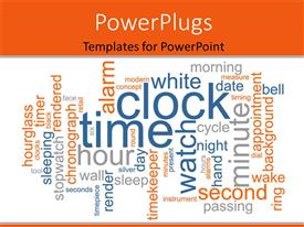 PowerPoint template displaying lots of time and clock related words on a white background