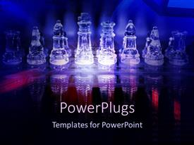 PowerPlugs: PowerPoint template with lots of transparent chess pieces with shinning blue background