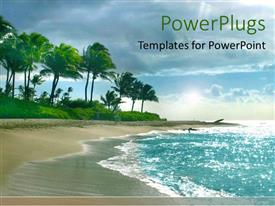 PowerPlugs: PowerPoint template with lots of trees at the shore of a blue river beach