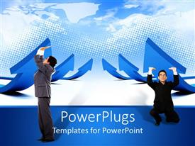 PowerPoint template displaying lots of upward pointed blue arrows with two people pushing them