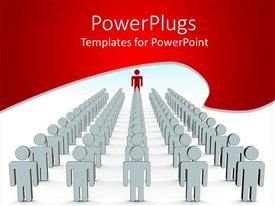 PowerPoint template displaying lots of white 3D human characters in lines with a leading red one