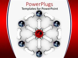 PowerPlugs: PowerPoint template with lots of White Arrows and objects pointing towards an object in the center