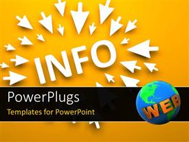 PowerPlugs: PowerPoint template with lots of white arrows pointing to a text which spells out the word ' info'