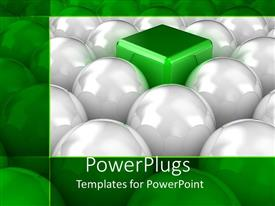 PowerPlugs: PowerPoint template with lots of white balls with a green cube in their middle